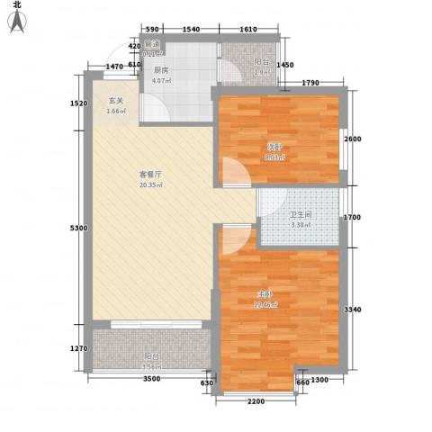 中环国际广场2室1厅1卫1厨74.00㎡户型图