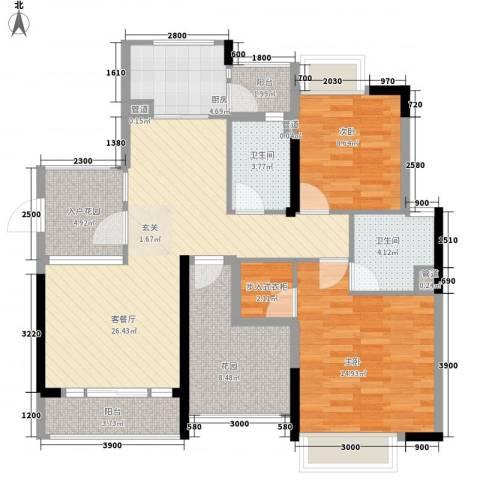 中环国际广场2室1厅2卫1厨121.00㎡户型图