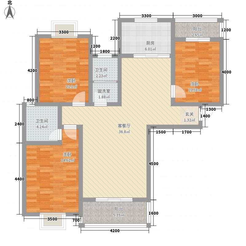宝城花苑二期128.61㎡D户型3室2厅2卫1厨