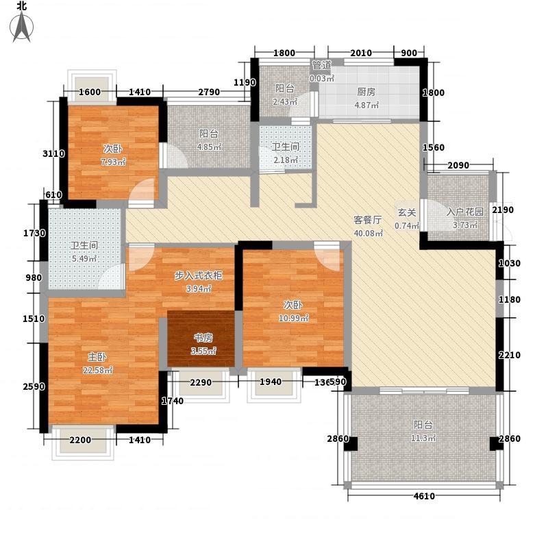 兴发龙溪谷13.60㎡15栋D3-2户型3室2厅2卫1厨