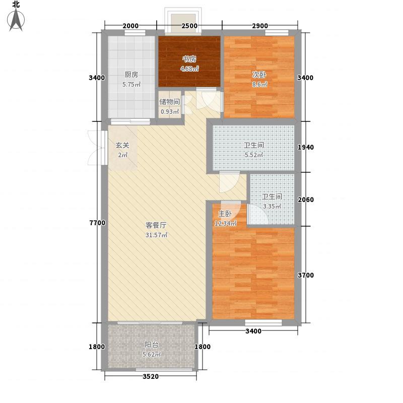 铂金水岸16.10㎡2a户型3室2厅1卫1厨