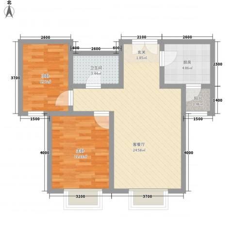 首开・国风海岸2室1厅1卫1厨76.00㎡户型图