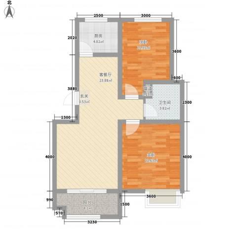 京都城2室1厅1卫1厨86.00㎡户型图