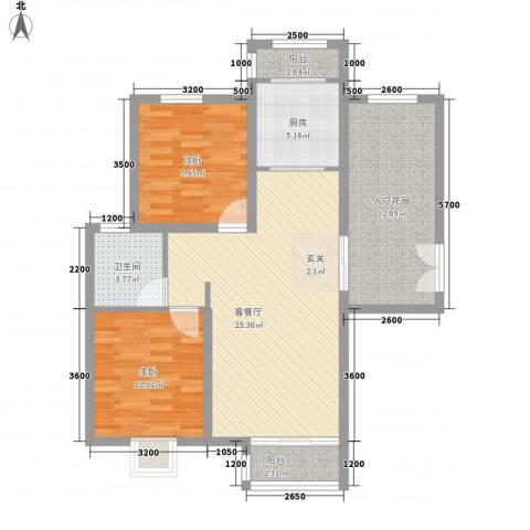 首开・国风海岸2室1厅1卫1厨89.00㎡户型图