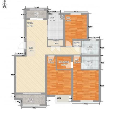 京都城3室1厅2卫1厨134.00㎡户型图