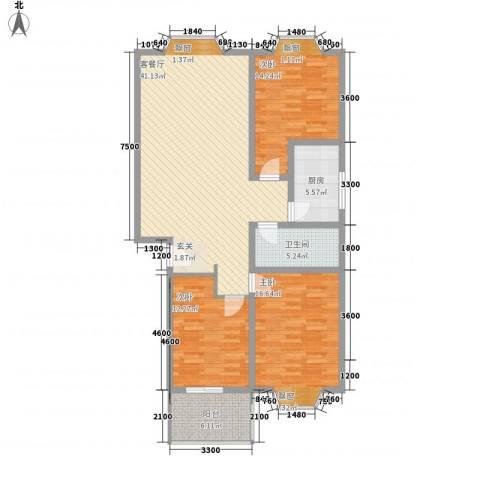 西营小镇3室1厅1卫1厨121.00㎡户型图