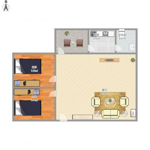 华远西小区2室1厅1卫1厨75.00㎡户型图