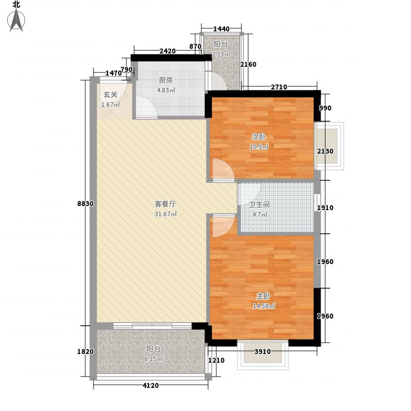 天悦尚城三期115.72㎡1#1单元022单元032室户型2室2厅1卫1厨