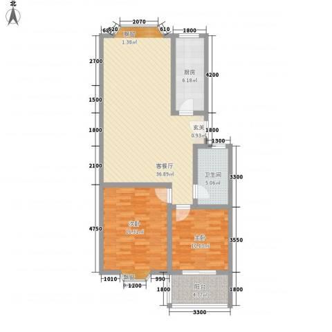 西营小镇2室1厅1卫1厨95.00㎡户型图