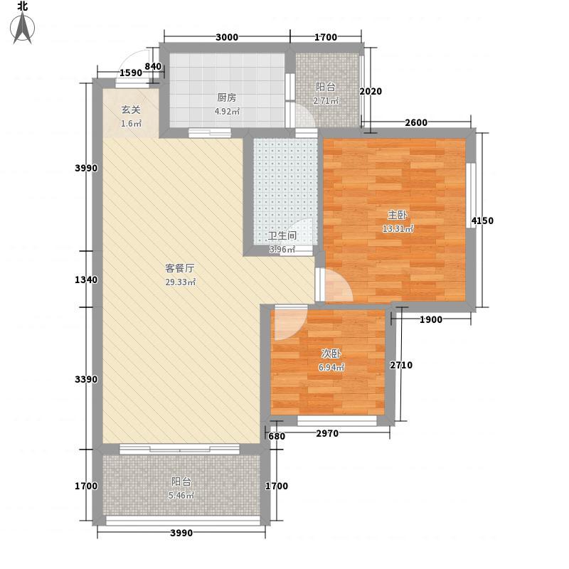 汇川喜来公社5.00㎡A4户型2室2厅1卫1厨