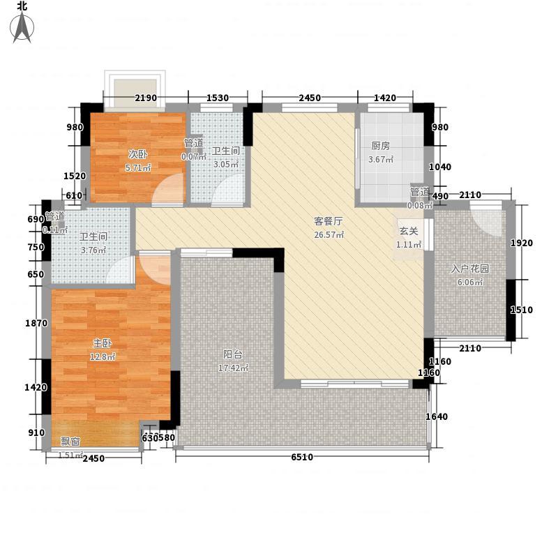 鼎湖森邻112.80㎡M1栋2层02户型2室2厅2卫1厨