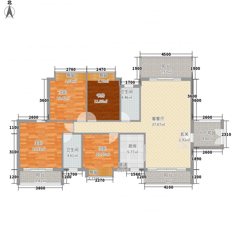 永兴国际城143.00㎡户型4室2厅2卫1厨