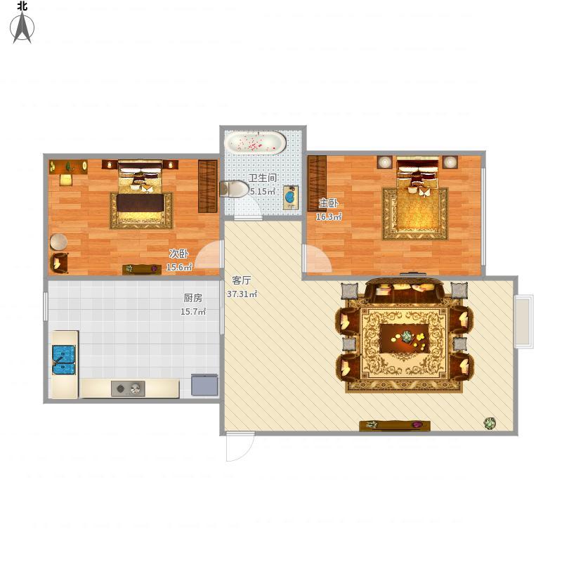 数码大厦90平两室一卫一厅一厨