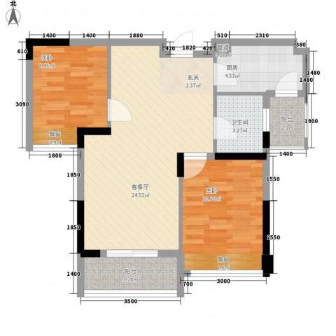 益田大运城邦2室1厅1卫1厨78.00㎡户型图