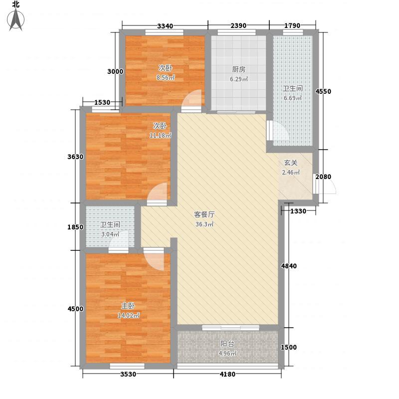 昌都华府114.00㎡3i户型3室2厅2卫1厨