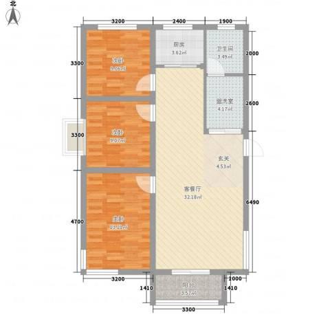 学府世家(金州)3室2厅1卫1厨78.36㎡户型图