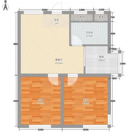 学府世家(金州)2室1厅1卫1厨53.83㎡户型图