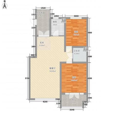 海韵星城2室1厅1卫1厨75.68㎡户型图