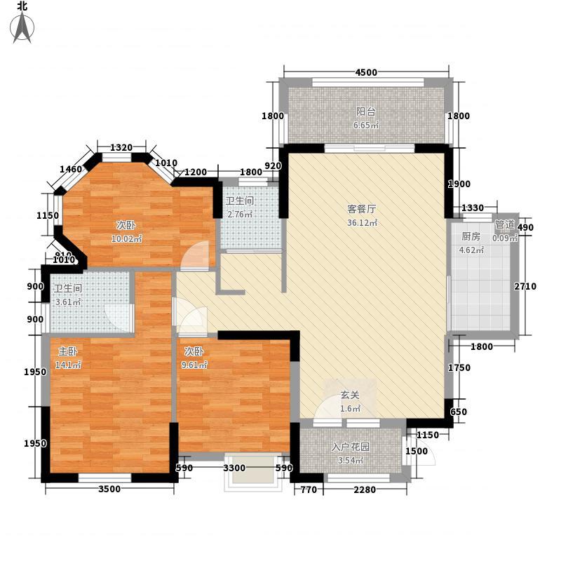 东城国际117.42㎡二期4#楼401户型3室2厅2卫1厨