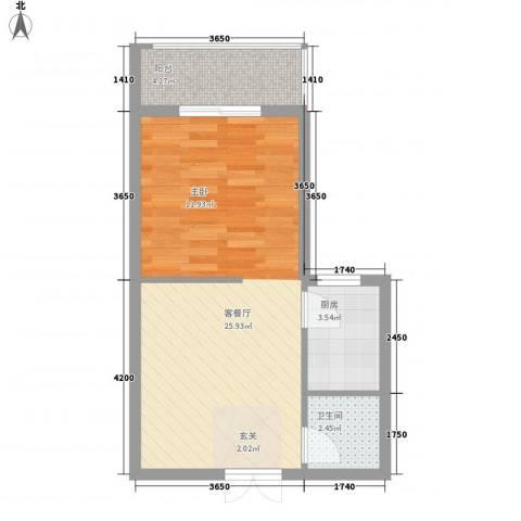 盛世豪庭1厅1卫1厨53.00㎡户型图