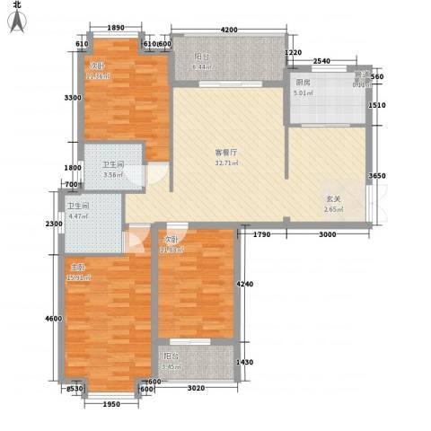 盛世豪庭3室1厅2卫1厨123.00㎡户型图