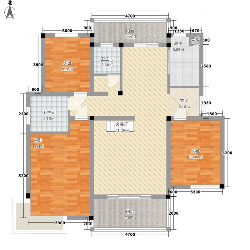 耀江花园127.00㎡C3户型3室2厅2卫1厨