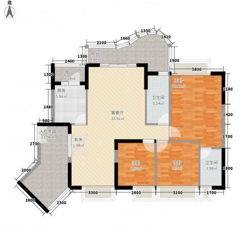 波海蓝湾三期3室1厅2卫1厨152.00㎡户型图