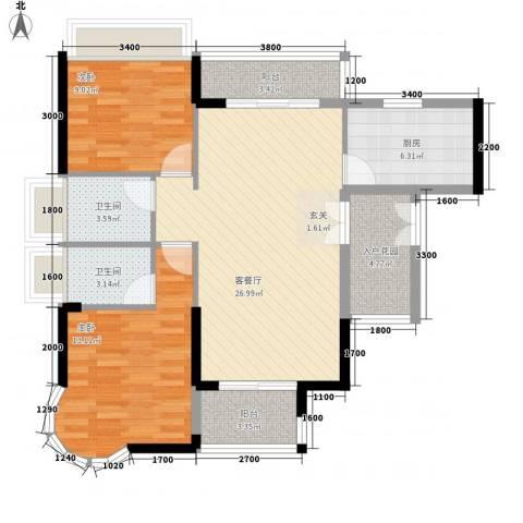 波海蓝湾三期2室1厅2卫1厨106.00㎡户型图