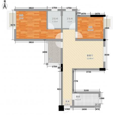 凯城花园2室1厅2卫1厨88.00㎡户型图