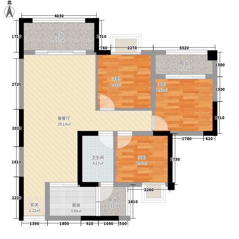 兴发龙溪谷1.50㎡11栋B4-2户型3室2厅1卫1厨
