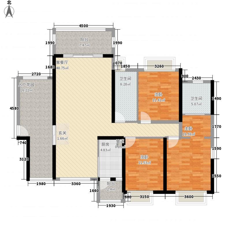 西粤京基城三期145.00㎡4幢标准层06户型3室2厅2卫1厨
