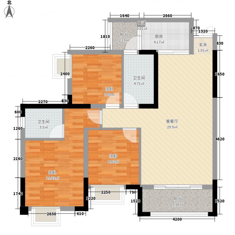 兴发龙溪谷18.00㎡13栋B5-2户型3室2厅2卫1厨