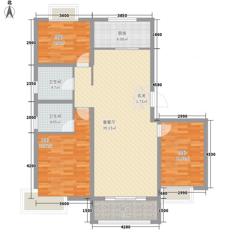 荣盛锦绣观邸13.81㎡A户型3室2厅2卫1厨