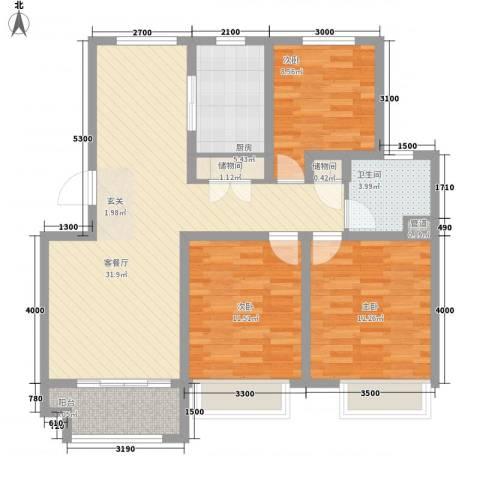 京都城3室1厅1卫1厨115.00㎡户型图