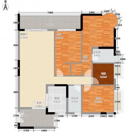 波海蓝湾三期4室1厅2卫1厨175.00㎡户型图