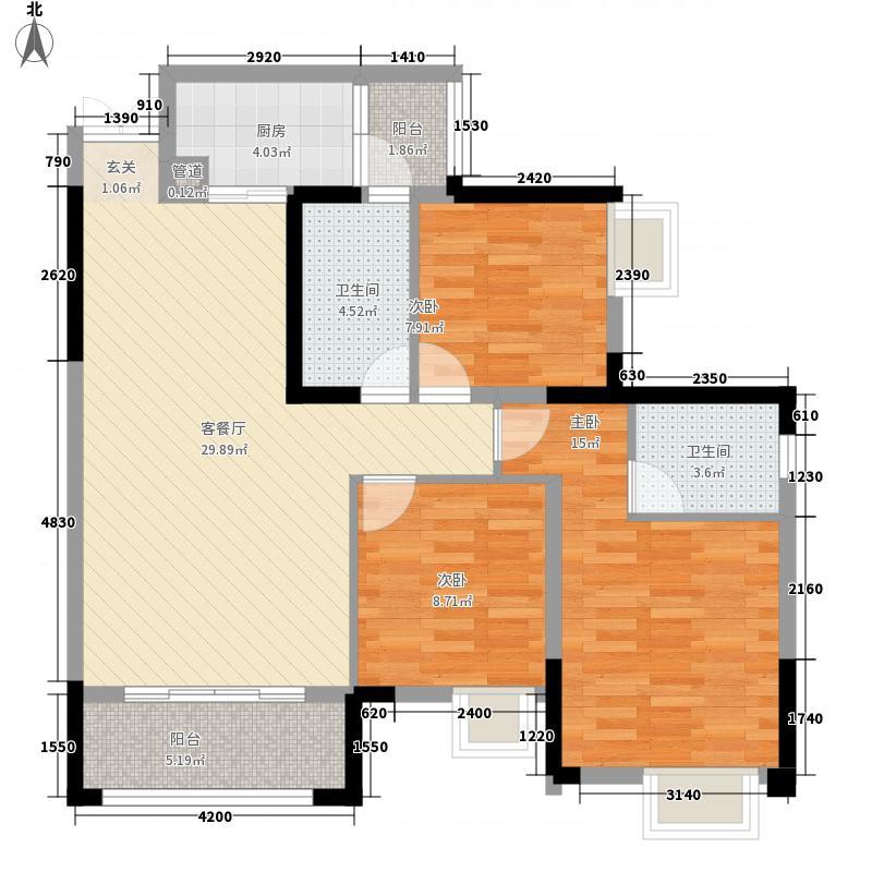 兴发龙溪谷16.60㎡13栋B8-2户型3室2厅2卫1厨