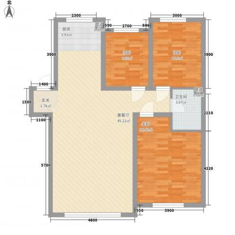 锦绣澜湾3室1厅1卫0厨83.22㎡户型图
