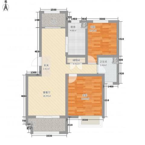 京都城2室1厅1卫1厨95.00㎡户型图