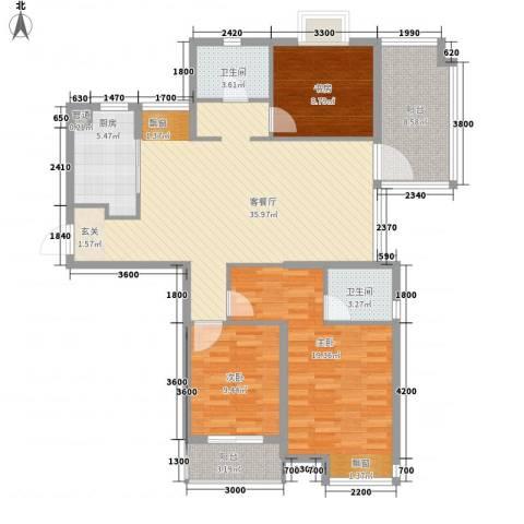 众安国泰花园3室1厅2卫1厨138.00㎡户型图