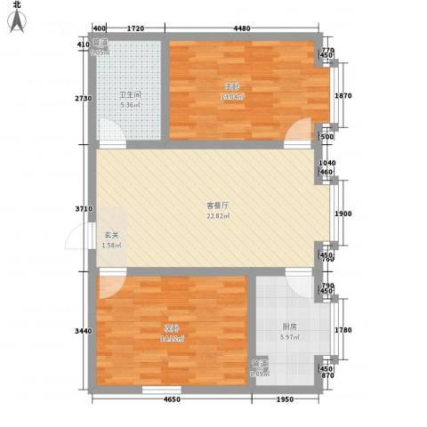 金鼎佰悦2室1厅1卫1厨61.45㎡户型图