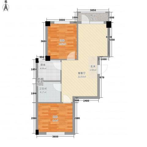 心海阳光2室1厅1卫1厨74.00㎡户型图