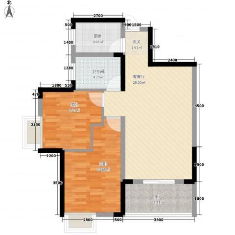 汉江阳光城2室1厅1卫1厨89.00㎡户型图