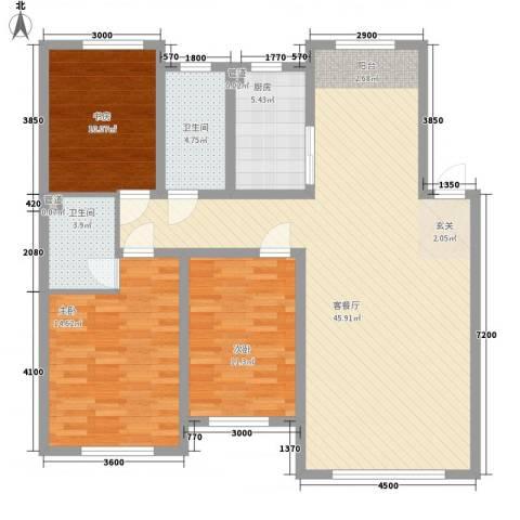 锦绣澜湾3室1厅2卫1厨122.00㎡户型图