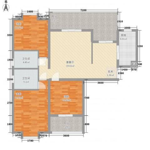 盛世豪庭3室1厅2卫1厨131.00㎡户型图