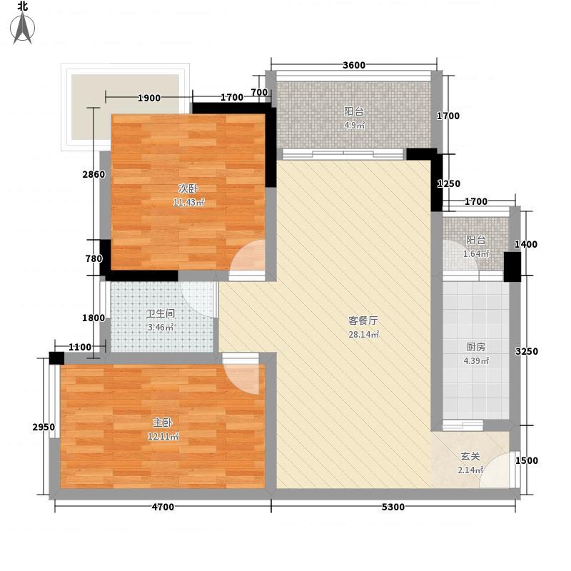 西铁城72.32㎡3栋2/7号房户型2室2厅1卫1厨