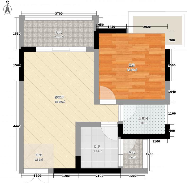 西铁城45.00㎡1栋2/3号房户型1室2厅1卫1厨