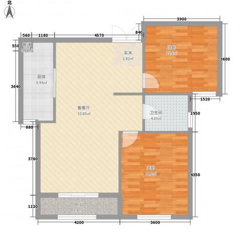 旺力城2室1厅1卫1厨73.42㎡户型图