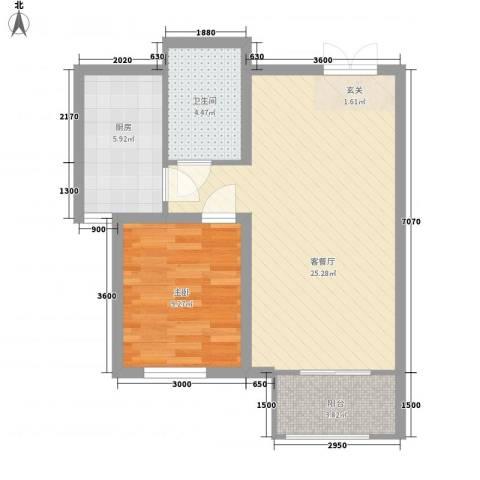 铂金水岸1室1厅1卫1厨48.76㎡户型图