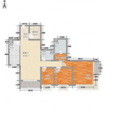 �泰大厦3室1厅2卫1厨122.00㎡户型图