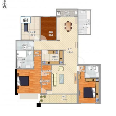 九龙仓雅戈尔铂翠湾3室1厅3卫1厨215.00㎡户型图